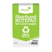 Silvine Everyday Recycled Shorthand Wirebound Notepad, Pack of 12 - RE160-T