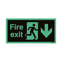 View more details about Safety Sign Niteglo Fire Exit Running Man Arrow Down 150x450mm Self-Adhesive NG28A/S