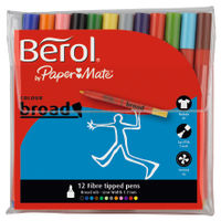 Berol Assorted Broad Fibre Felt Tipped Pens, Pack of 12 - S0375410