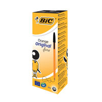 BIC Fine Black Cristal Orange Ballpoint Pens, Pack of 20 - 1199110114