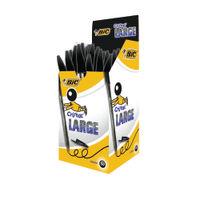 BIC Large Black Cristal Transparent Ballpoint Pens, Pack of 50 - BC17549