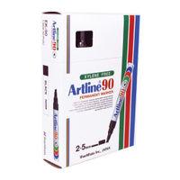 Artline 90 Chisel Tip Black Permanent Marker Pens, Pack of 12 - A901