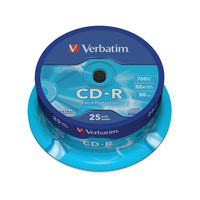 Verbatim CD-R 52x 80min 700MB Discs, Pack of 25 - 43432