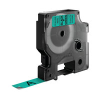 View more details about Dymo D1 Standard Label Tape Black on Green - 45019 / S0720590