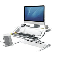 View more details about Fellowes Lotus DX Sit-Stand Workstation in White - 8081101