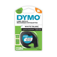 View more details about Dymo Letratag White 12mm x 4m Plastic Tape - S0721660