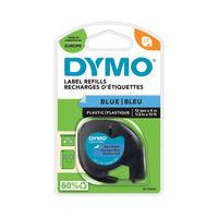 View more details about Dymo LetraTag Plastic Label Tape - Black on Blue - ES91205