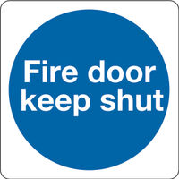 Fire Door Keep Shut 100 x 100mm Self-Adhesive Safety Sign, Pack of 5 - 686508