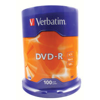 Verbatim DVD-R 16x 4.7GB Matt Silver Surface Discs, Pack of 100 - 43549
