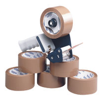 Tape Dispenser with 6 x Buff Packing Tape Rolls, 50mm x 66m - MA99111