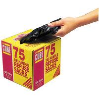 Le Cube Black 100 Litre Tie Handle Refuse Sacks with dispenser, Box of 75 - 0481