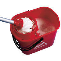 View more details about 2Work Plastic Mop Bucket with Wringer 15 Litre Red 102946RD