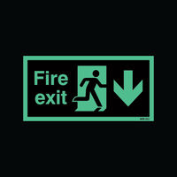 Safety Sign Niteglo Fire Exit Running Man Arrow Down 150 x 450mm - NG28A/S