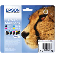 Epson T0715 Black Cyan Magenta Yellow Inkjet Cartridge Value Pack C13T0715412