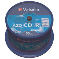 View more details about Verbatim 700MB 52x Speed Spindle AZO Crystal CD-R, Pack of 50 - 43343