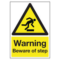 View more details about Warning Beware of Step A5 PVC Safety Sign - HA21451R