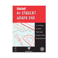 View more details about Chartwell A4 Student Graph Pad - 50 Leaf 2, 10, 20mm  - J34B