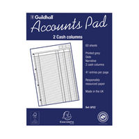 View more details about Guildhall 2 Cash Columns Account Pad - 1587