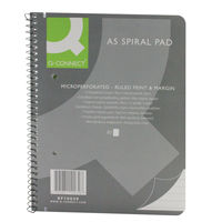Q-Connect A5 Ruled Margin Spiral Soft Cover Notebooks, Pack of 5 - KF10039