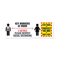 View more details about Social Distance Key Worker Sticker 450mm  Pack of 5  Keyworkerstick01