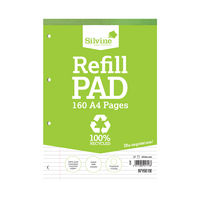 View more details about Silvine A4 Lined Recycled Refill Pads, Pack of 6 - RE4FM-T