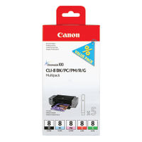 View more details about Canon CLI-8 BK/PC/Pm/R/G Multi Pack Cartridges 0620B027