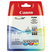 Canon CLI-521 Cyan/Magenta/Yellow Ink Cartridge Multipack - 2934B007