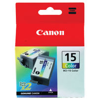 View more details about Canon BCI-15C Colour Inkjet Cartridges (Pack of 2) 8191A002