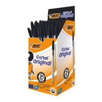 Bic Cristal Black Ballpoint Pens, Pack of 50