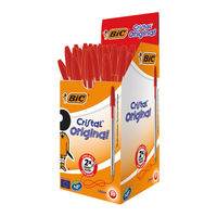 View more details about Bic Cristal Medium Red Ballpoint Pens (Pack of 50) - 8373611