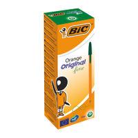 BIC Fine Green Cristal Orange Ballpoint Pens, Pack of 20 - 1199110113