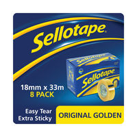 View more details about Sellotape Original Golden Tape 18mmx33m (Pack of 8) 1443251