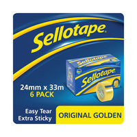 View more details about Sellotape Original Golden Tape 24mmx33m (Pack of 6) 1443254