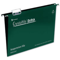 Rexel Crystalfile Extra Green Foolscap Suspension Files 15mm- Pack of 25 - 70628