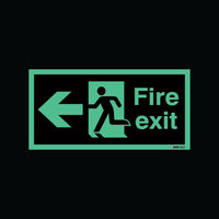 View more details about Safety Sign Niteglo Fire Exit Running Man Arrow Left 150x450mm Self-Adhesive NG27A/S