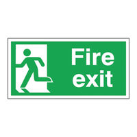 View more details about Fire Exit Running Man Left 150 x 300mm Self Adhesive Safety Sign - E96A/S