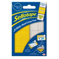 Sellotape Sticky  Hook / Loop Pads, 20 x 20mm, 24 Sets - 504049