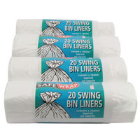 Safewrap White 50 Litre Standard Swing Bin Liners, Pack of 80 - 0441