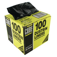 Le Cube Black Dustbin Liners with Dispenser 80 Litre, Pack of 100-0483
