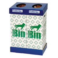 View more details about Acorn Office Twin Recycling Bin Blue/Green (95 litres each bin) 802853