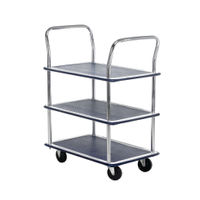 View more details about Barton Silver and Blue 3 Shelf Trolley With Chrome Handles PST3