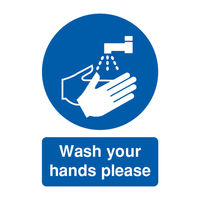 View more details about Wash Your Hands Please A5 PVC Safety Sign - MD05851R