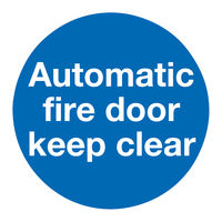 View more details about Automatic Fire Door 100 x 100mm Self-Adhesive Safety Sign, Pack of 5 - KM73A/S
