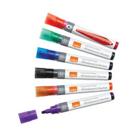 View more details about Nobo Liquid Ink Assorted Colours Drywipe Markers - Pack of 6 - 1901077