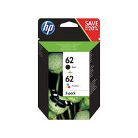 View more details about HP 62 Black and Tri-Colour Ink Dual Pack - N9J71AE