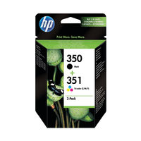 View more details about HP 350 / 351 Black and Tri-Colour Ink Cartridge Pack - SD412EE