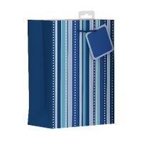 Giftmaker Blue Vertical Stripe Medium Gift Bags, Pack of 6 - MGSM
