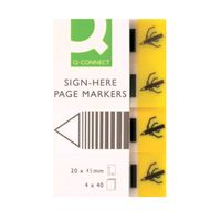 Q-Connect Yellow 20 x 50mm Quick Signature Markers, Pack of 160 - KF01979