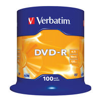 View more details about Verbatim 4.7GB 16x Speed DVD-R Spindle, Pack of 100 | 43549