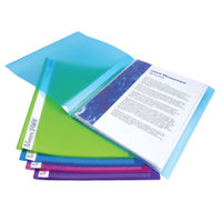 10 x Rapesco A4 20 Pocket Flexi Display Books in Assorted Bright Colours - 0916